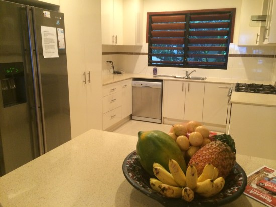 Complimentary fruit basket and a spacious kitchen