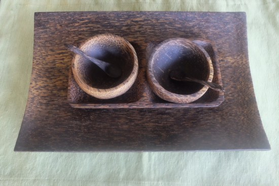 Serving plate and little bowls made from coconut wood