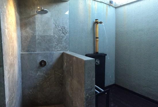 Rainwater shower and bamboo shower
