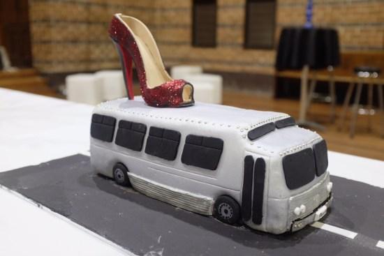 A silver bus