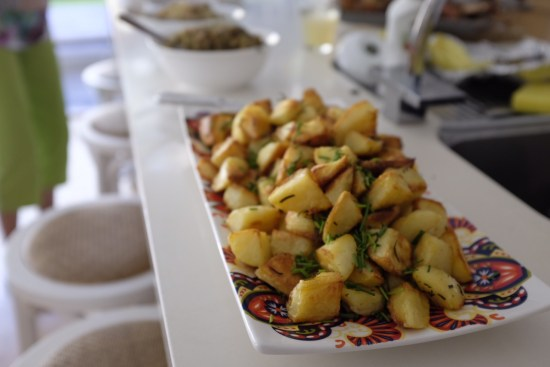 A platter of potatoes on the buffet