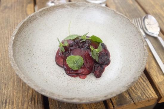 Raw kingfish with blackberry, blood plum and purslane