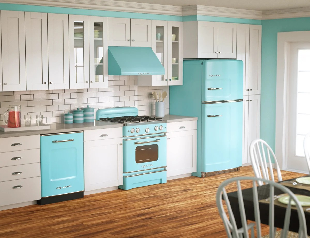 50s retro kitchens turquoise kitchen chairs Big Chill retro kitchen