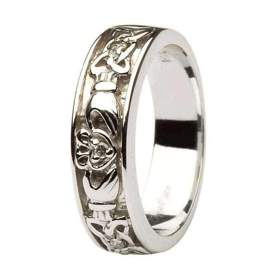 claddagh celtic knots diamond set ladies 14kt white gold wedding ring band claddagh wedding bands Claddagh Celtic Knot Diamond Set Ladies 14kt White Gold Wedding Band House of Claddagh Irish Collections
