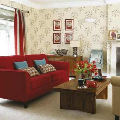 Modern living room | Wallpaper feature | Decorating ideas | housetohome.co.uk