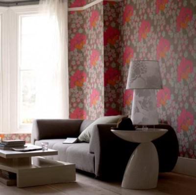 Bold floral wallpaper living room | Living rooms | Decorating ideas | Image | housetohome.co.uk