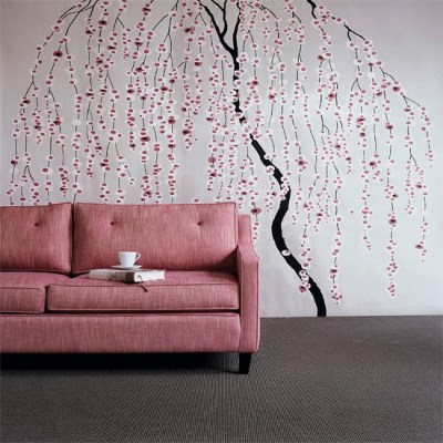 Floral stencil living room | Wallpaper ideas for living rooms | housetohome.co.uk