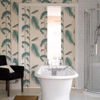 Tranquil fern print wallpaper   Bathroom wallpapers   housetohome.co.uk