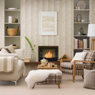 Neutral living room with patterned wallpaper   housetohome.co.uk