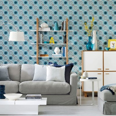 Living room with patterned wallpaper | Living room decorating | housetohome.co.uk