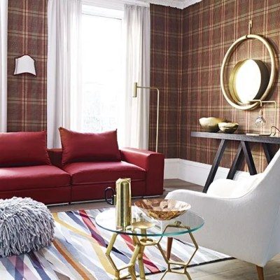 Living room with tartan wallpaper | Decorating | housetohome.co.uk