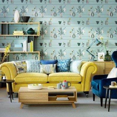 Duck egg living room with feature wallpaper | Duck egg ...