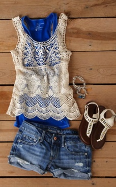 Love this Lace top with a pop of blue layered underneath