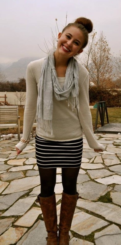Layer a sweater over a summer dress, add tights and boots. All in my closet alre