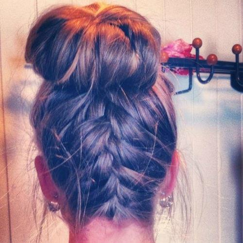 French braid bun. Wish I could do this :(