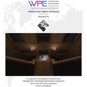 WPE - International Photographers Awards - Certificate delivered to Howard Yu