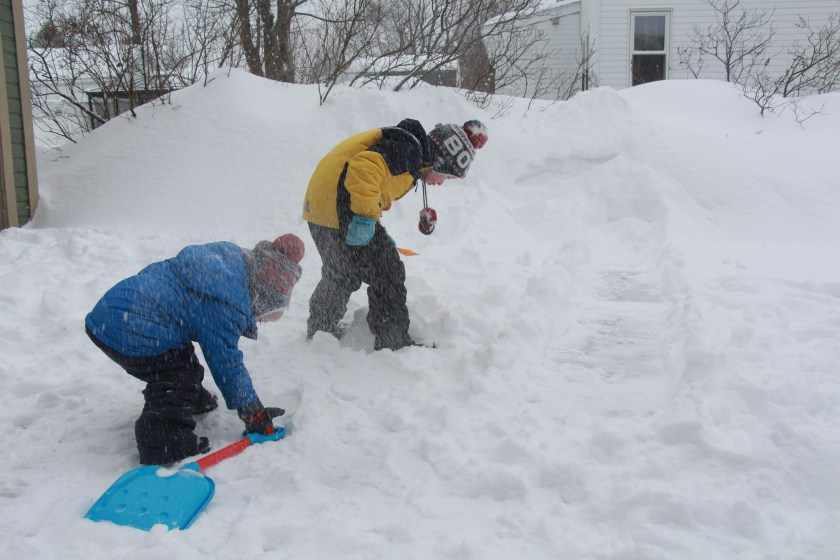 Anatomy of a Snow Day: and the boys help me shovel