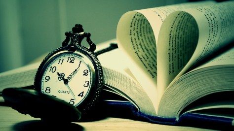 Luxury pocket watch and book heart