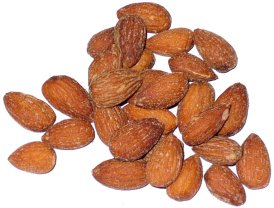 what almonds look like after they have been smoked, cooked, and salted. Processed almonds.