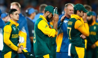 AUCKLAND, NEW ZEALAND - MARCH 24:  Imran Tahir of South Africa shows his dejection following the 2015 Cricket World Cup Semi Final match between New Zealand and South Africa at Eden Park on March 24, 2015 in Auckland, New Zealand.  (Photo by Phil Walter/Getty Images)