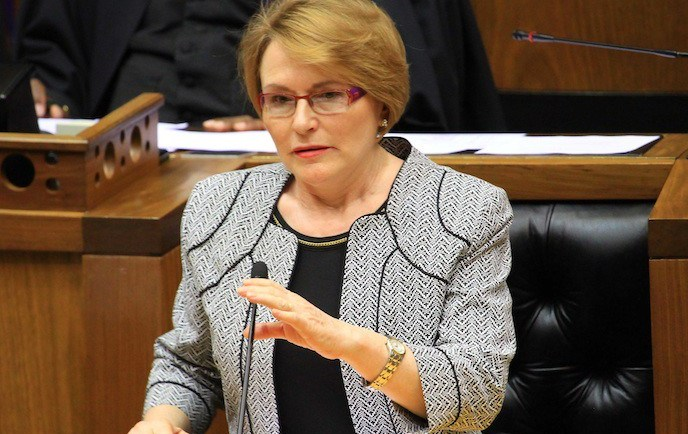CAPE TOWN, SOUTH AFRICA - DECEMBER 9: Premiere Helen Zille speaks to the Parliament joint sitting during the tribute to Former President Nelson Mandela, on December 9, 2013 in  Cape Town, South Africa. The Father of the Nation, Nelson Mandela, Tata Madiba, passed away quietly on the evening of December 5, 2013 at his home in Houghton with family. (Photo by Gallo Images / Ziyaad Douglas)
