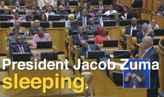 Must Watch: President Zuma Falls Asleep During Gordhan's Mid-Term Budget Speech (Video)