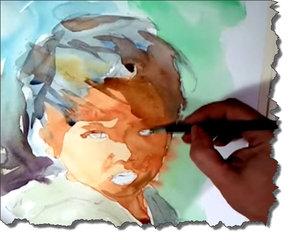 Watercolor portrait by Hangel Montero