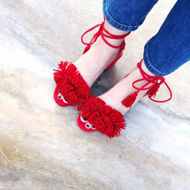she inside red sandal