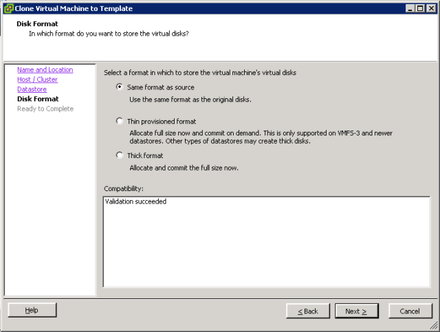VMware ESXi - Clone to Template - Disk Format