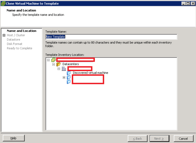 VMware ESXi - Clone to Template - Name and Location