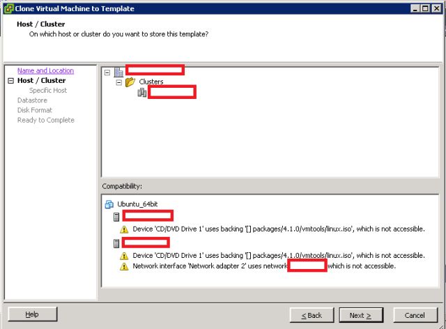 VMware ESXi - Clone to Template - Host and Cluster