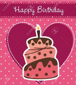 Lummy Cake Over Pink Background Stock Vector Cartoon Happy Birthday Joyner Happy Birthday Joya Video 14038911 Birthday Card