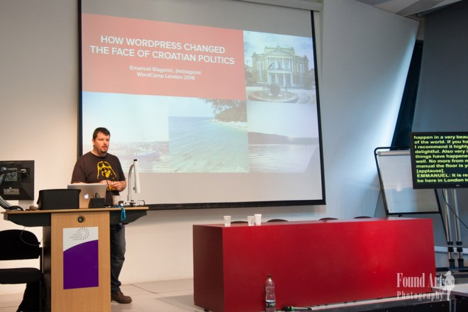 Jedna od važnijih stvari u životu mi je prenošenje znanja. Na WordCamp Londonu sam ove godine pričao o projektu kojeg radim s gradom Rijekom i koji će biti dostupan na GitHubu (Autorica fotografije: Kari Leigh Marucchi)