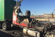 Tractor Trailer on Fire at Port Newark quickly extinguished