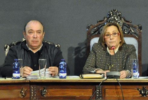 Zamudio y Faneca durante la celebración del pleno.