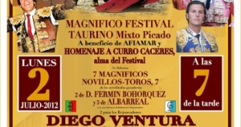 Cartel del festejo taurino en Almonte.