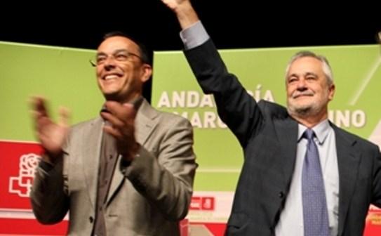 Ignacio Caraballo y José Antonio Griñán en el acto de los socialistas este martes.