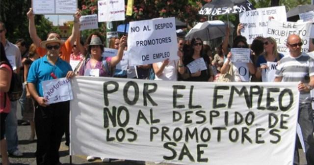 Protesta de los promotores de empleo del SAE.