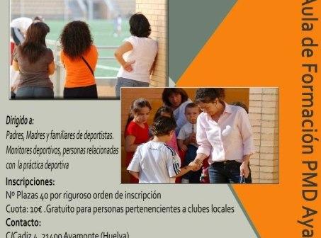Cartel de los cursos del Patronato Municipal de Ayamonte.