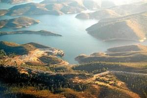 Imagen aérea del embalse del Chanza. (Rodolfo Barón)