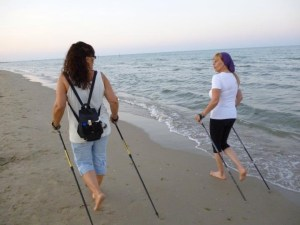Nordic Walking en la playa.
