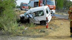 Estado en el que quedó uno de los vehículos involucrados en el accidente.