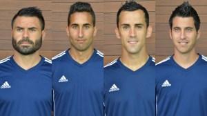 Córcoles, Montoro, Linares y Jorge Larena, jugadores del Recreativo de Huelva.