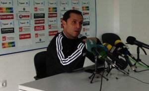 Sergi Barjuan, técnico del Recreativo de Huelva, en sala de prensa.