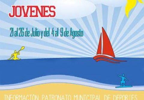 Cartel de los talleres náuticos para jóvenes en Ayamonte.