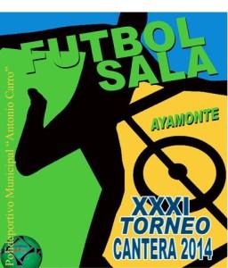 Cartel del torneo de fútbol sala en Ayamonte.