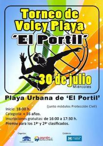Cartel del torneo de voley playa en El Portil.