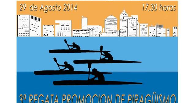 Cartel de la regata de piragüismo en Ayamonte.