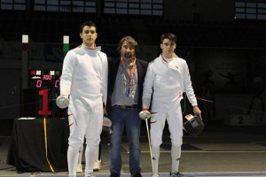 Mario Artero y Pablo Rodríguez, espadistas del Club Esgrima Huelva.