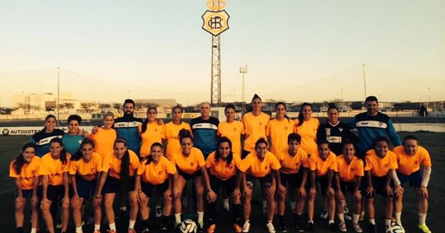Fundación Cajasol Sporting entrenando en la Ciudad Deportiva del Recreativo de Huelva.